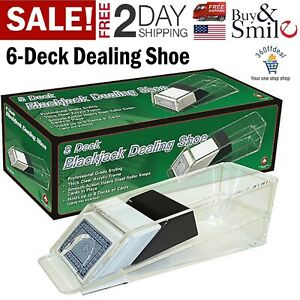 Blackjack Poker Dealing Shoe 6 Deck Discard Cards Holder Casino Dealer