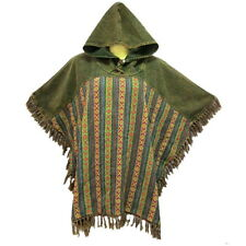Peasant Boho Hand Woven Cotton Hooded Maxican Poncho/Sweater with Fringe YX751