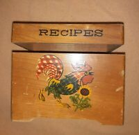 NORLEANS Wooden MCM RECIPE BOX Hing Lid Paint Decal Rooster Chicken Sunflower