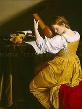 ORAZIO GENTILESCHI ITALIAN LUTE PLAYER OLD ART PAINTING POSTER PRINT BB6213A