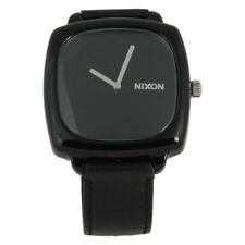 NEW NIXON SHUTTER ALL BLACK,LEATHER BAND,SQUARE DIAL WATCH A167000-00