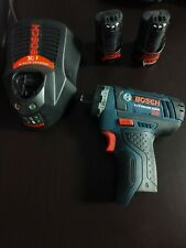 """BOSCH PS21 12 Volt  Cordless 1/4"""" Drill with two batteries and 30 min charger"""