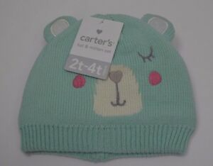 Carter's Toddler's Coral Green Hat & Mitten Set Size 2T-4T