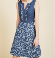ModCloth Wow on a Whim A Line Sleeveless Denim Chambray Floral Print Dress