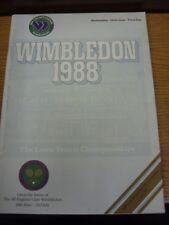 22/06/1988 Tennis programme: Wimbledon, Le Lawn Tennis Championships-Officiel