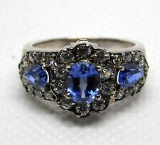 Diamonique Sapphire and Cubic Zirconia Halo Ring DQ 925 Sterling Silver Sz 6.25