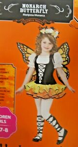 🎃 Girl's M Monarch Butterfly Dress Up Costume Wing Fairy Princess 7-8 Spring