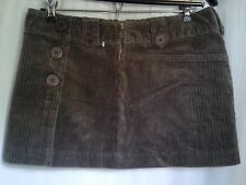 New* Calvin Klein Vintage Wash Corduroy Mini Skirt brown Sz 7