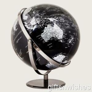 High Quality Double Axle Black World Globe Chrome Home Decor Wedding 25cm