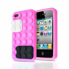 3D BUILDING BLOCKS LEGO BRICK SOFT SILICONE STAND CASE COVER FOR IPHONE 4S / 4