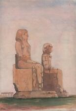 COLOSSI OF MEMNON THEBES Watercolour Painting c1845 ANCIENT EGYPT EGYPTOLOGIST