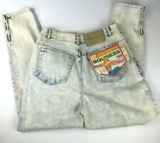 Vintage New 80s Womens Acid Wash Mom Jeans High Waisted 13 Blue Zippers Nos