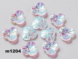 China Electroplate Glass FLOWER Beads CRYSTAL AB 13.5mm  Lot of 15 M1204