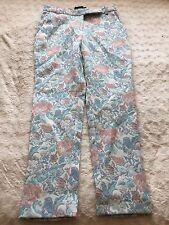Asos Petite 8 Floral Tapestry Nude Blue Burnt Orange Trousers