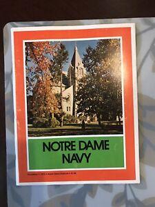 November 1 1975 Navy Notre Dame football program Vintage