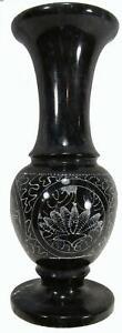 """Black Marble Vase Etched Floral Art 70s Vintage 20 cm / 7¾"""" Tall"""