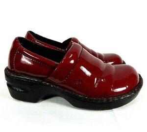 Born BOC Clogs Shoes Peggy Red Faux Patent Leather Women Size 7.5 Comfort Nurse