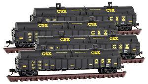 Micro-Trains MTL N-Scale CSX 15-Panel Gondolas/Coil Cover  - Runner 4-Pack