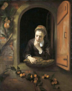Oil painting Nicolas Maes - Girl at a Window, known as 'The Daydreamer' canvas