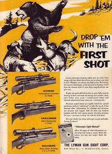 1953 magazine ad for Lyman Gun Sights - Alaskan, Challenger & Wolverine sights