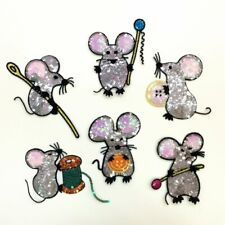 Set of 6 Cute mouse sequins patches decoration Diy accessories garment sewing