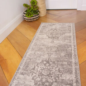 Grey Distressed Hall Runner Rug Transitional Living Room Rug Long Hallway Runner