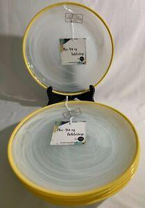 "Set of 5 Turkish WHITE SWIRL GLASS SALAD PLATES w/Yellow Trim, 8 1/4"" - NEW"