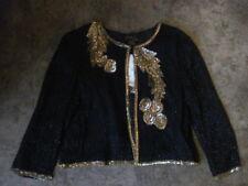 Kuku Sudi Esprit De Soir Black Silk Sequin Bead Embellished Jacket Shrug Medium