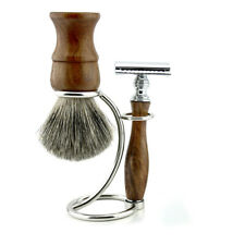 Wooden Set Super Badger Brush with Steel Stand and Double Edge Safety Razor