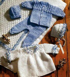 "Premature Baby Knitting Pattern DK Pram Set & Quilt 12-18"" chest"