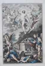 Gravure Aquarellée XVIIIème -  Appararition de Jésus - A. Carracci - Dambrun