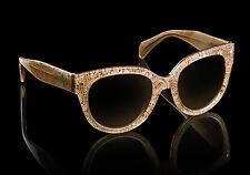 RARE NEW Authentic PRADA Cat Eye Lace Sand Beige Sunglasses SPR 17O JAW 6S1 17OS