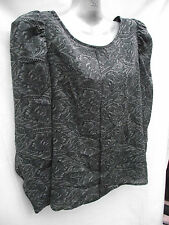 BNWT Ladies Sz 14 Charcoal/Print UK F&F Brand Silky Feel Dressy Round Neck Shirt