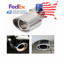 1x Universal Car Round Silver Stainless Steel Exhaust Tail Muffler Tip Pipe