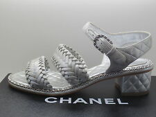 $1450 Chanel Silver Quilted Leather CC logo Chain Sandals Shoes Heels  37/7  New