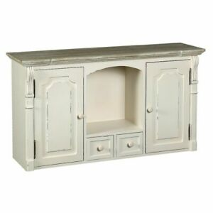 Wall Shelf IN Country House Style With Double Door And 2 Download, Retro White