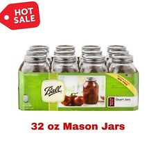 MASON JAR (12pk) 32 oz BALL Quart Canning Clear Lid Bands REGULAR Mouth SMOOTH