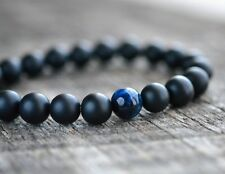 Mens Womens 8MM Blue Tiger Eye & Matte Onyx Gemstone Beads Yoga Beaded Bracelet