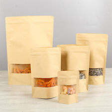 Stand Up Kraft Paper Bags Resealable Food Pouch Gift With Clear Window