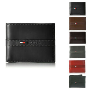 Tommy Hilfiger Men's RFID Tech Protection Smooth Leather Bifold Valet Wallet