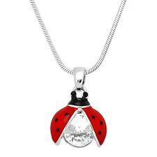 "Sparkling Crystal - 17"" Chain Ladybug Charm Pendant Fashionable Necklace -"