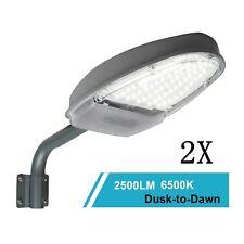 2x Outdoor LED Street Light 24W 2500LM Dusk to Dawn Sensor Waterproof Security