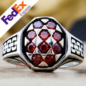 Turkish Handmade 925 Sterling Silver Ruby Stone Luxury Chain Men's Ring All Size