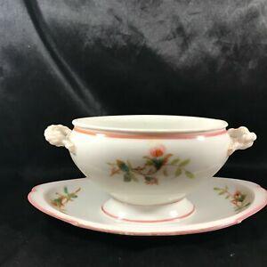 Vintage Porcelain Floral Gravy Bowl Attached Underplate