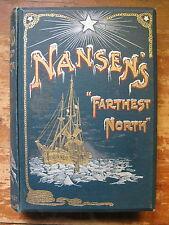 Antiquarian Nansens' FARTHEST NORTH,1898,2 Vols.1st edit.Fine Bindings,Arctic
