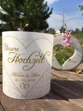 4 x Windlicht Hochzeit Tischdeko Tischlicht Deko mit Namen, Datum Gastgeschenk