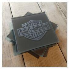Harley Davidson Logo Posavasos De Vidrio Grabadas Con Láser Conjunto de Regalo Motocicleta Willie G
