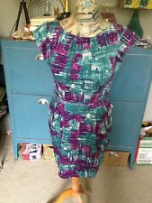 1950s Style Blue And Pink lined Warehouse Dress