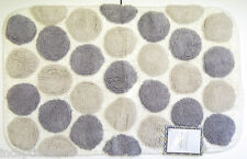 Candice Collection Cotton Bath Rug 21x 34 Pebble Dot Grey White - NEW