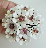 Vtg W Germany White Plastic Floral Bunch Pink Crystal Bead Pin Brass Gold Tone